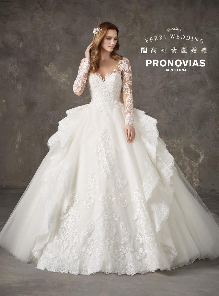 禮服-2019-Pronovias,西班牙禮服,西班牙婚紗,代理禮服,戶外婚禮,魚尾